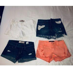 Bundle of 4 hollister shorts size 1/25